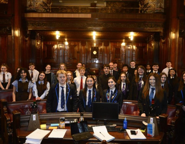 Picture of secondary school student representatives attending debate hosted by Glasgow City Council